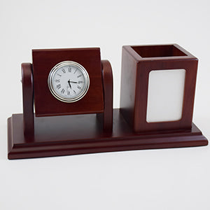 Executive Wooden Desk Organizer With Clock & Pen Holder