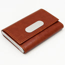 Brown Leather & Stainless Steel Card Holder