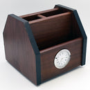 Wooden Pen Jar with Clock 360 Degree Rotation