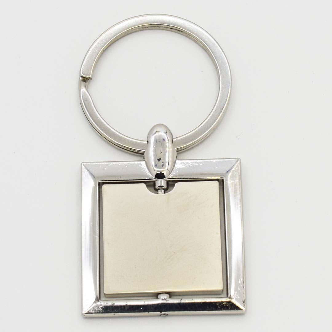 Square Shaped Spinning Metal Keychain