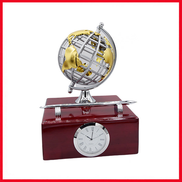 Executive Wooden Desk Organizer With Analog Clock, Pen Holder & Globe