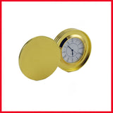 Good Looking Round Shape Analog Table Clock (Golden Color)
