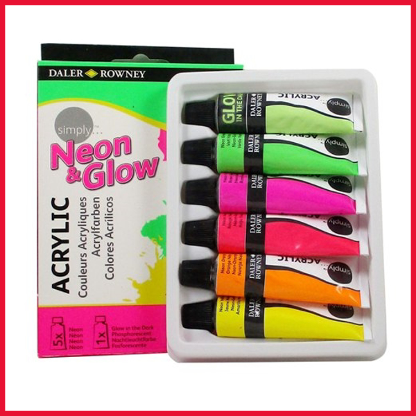 Daler Rowney Neon & Glow Acrylic 12ml Tubes Set of 6 Pcs.