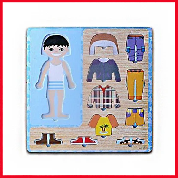 Wooden Learning Plate Boy Cloth