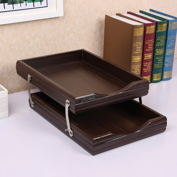 Documents Organizer Wooden Tray