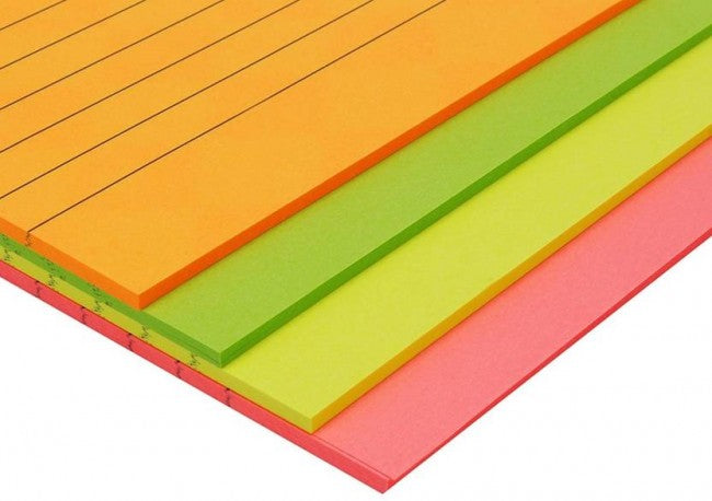 Self-Stick Sticky Neon Colors Note Pad 50 Sheets Ruled.