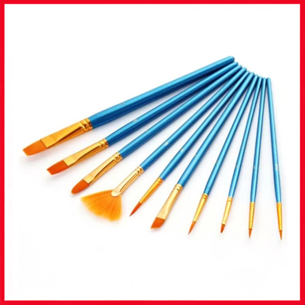 Wooden Paint brush 9 Pcs Set