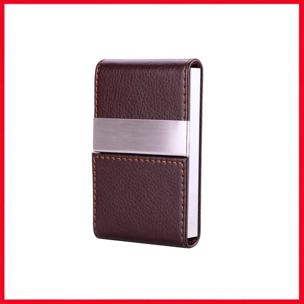 PU Leather Business Card Holder Magnetic Shut Double Side Open Card Case