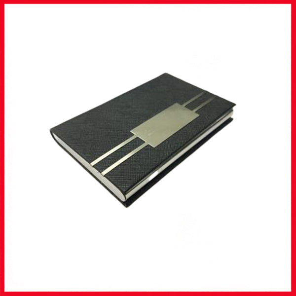Black and Silver Leather Look Stainless Steel Business Card Holder