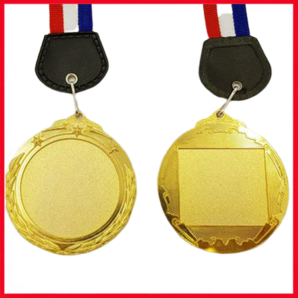 Blank Gold Metal Medal with Nylon Ribbon.
