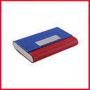 Red & Blue Leather &  Stainless Steel Card Holder