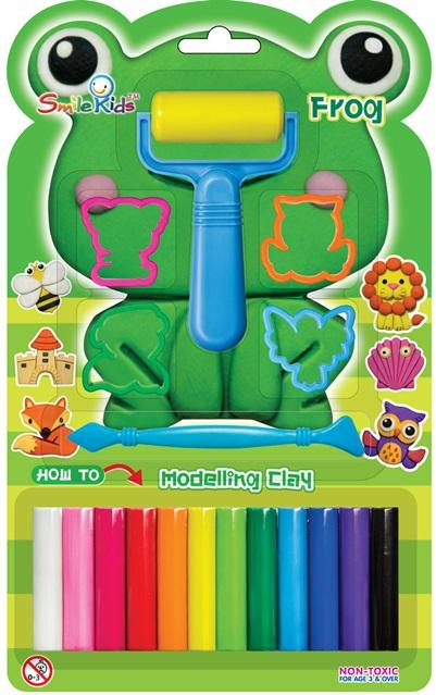 Smile Kids Modelling Clay 12 Colors With 4 Moulds  150g
