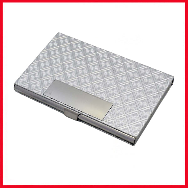 Leather & Metal Card Holder (Grey)