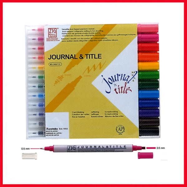 ZIG MEMORY SYSTEM JOURNAL & TITLE Double-headed calligraphy pen (12 color suit) MS-3600/12V