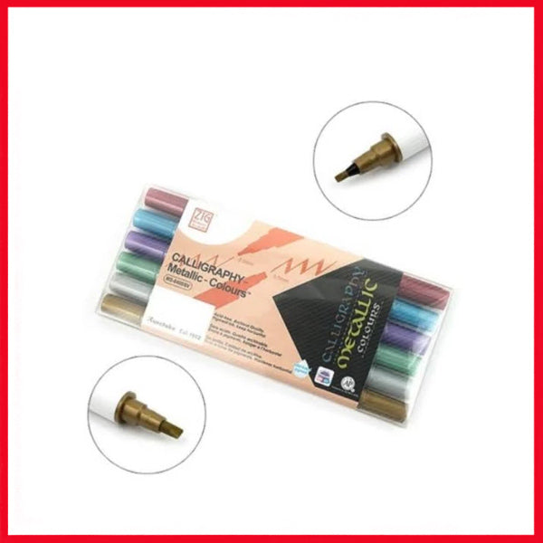 ZIG Calligraphy Metallic Color Marker 6 Pcs Set