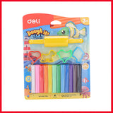 Deli ED75041 Plasticine 12 Colors with 1 Roller 4 Molds