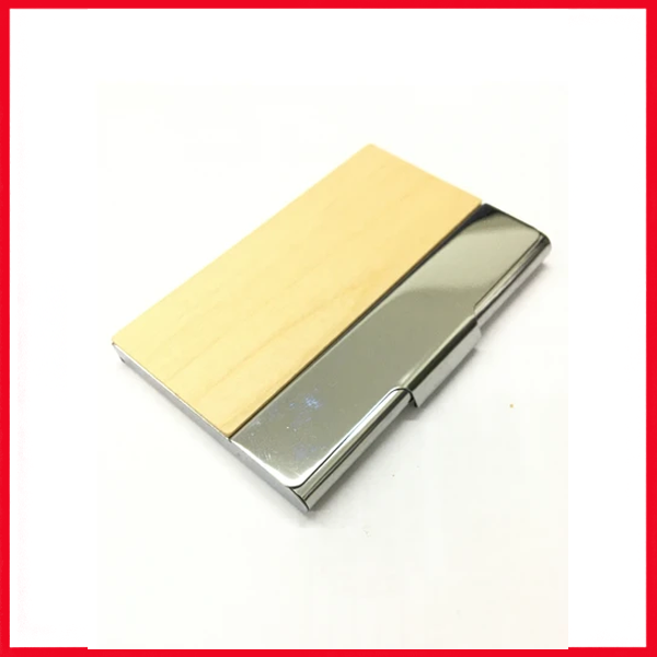 Wooden & Stainless Steel Business Card Holder.