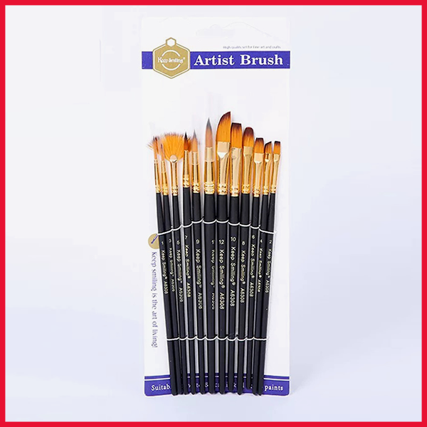 Keep Smiling Artist Paint Brushes Set 12 Pcs