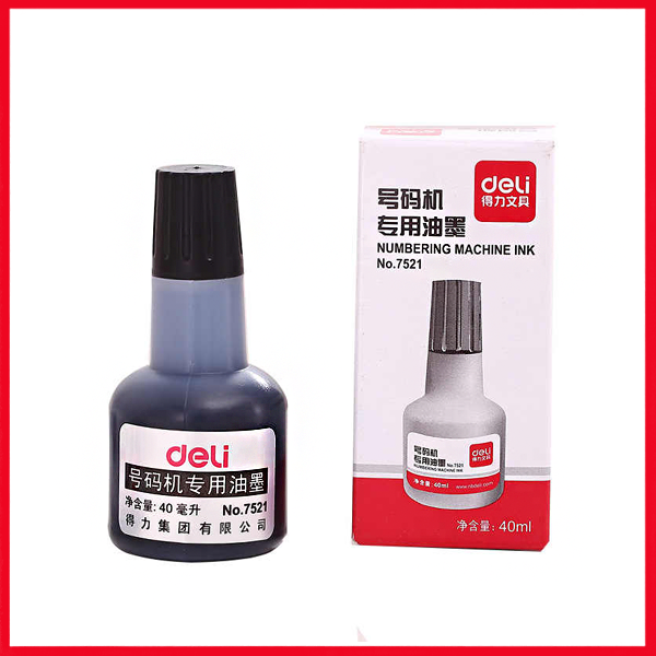 Deli 7521 Ink for Numbering Machine 40ml Black.