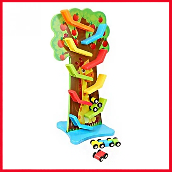 Creative Mini Car Racer Run Racetrack Kids Wooden Ramp With 6 Cars Funny Educational Toys Gifts For Children