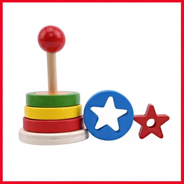 Rainbow Tower Wooden Toys Geometric Assembling Building Blocks