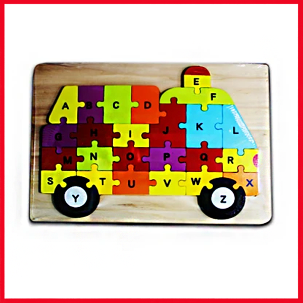 Wooden Puzzle Plate Van Shape Early Educational Toys 1-3 Years