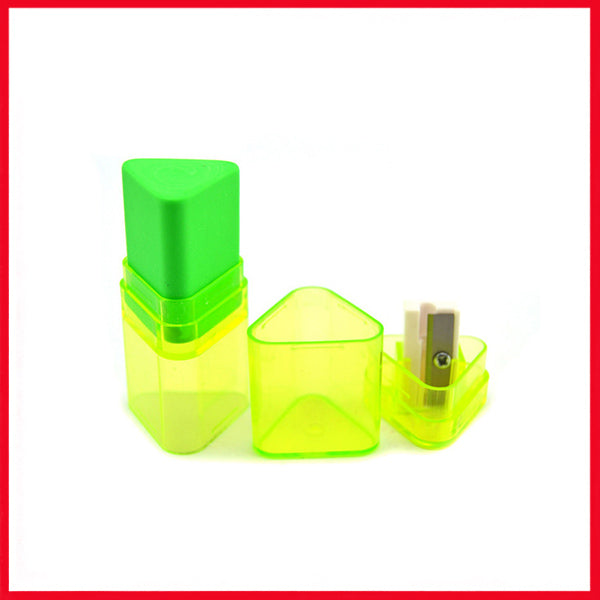 Creative Candy-Colored Triangle Pencil Sharpener Eraser 2-in-1