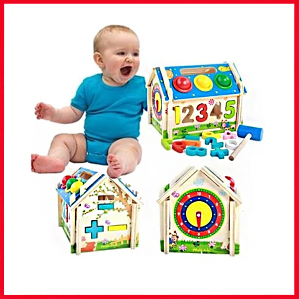 Multi-Functional Intelligent Wooden House Blocks Play Set for Kids - Shapes, Number, Color