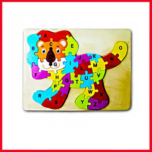 Wooden Puzzle Plate Lion Shape Early Educational Toys 1-3 Years