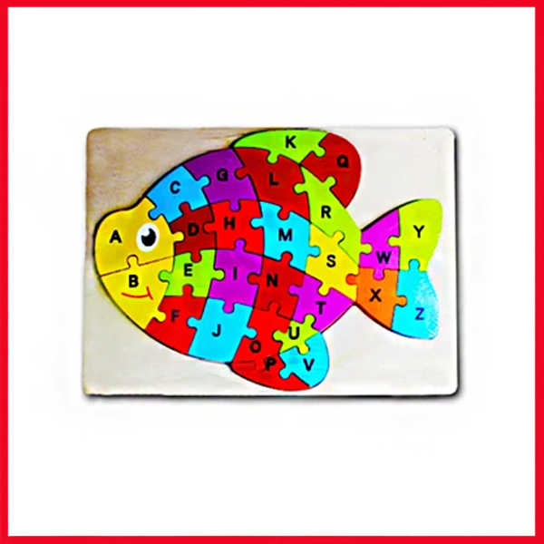 Wooden Puzzle Plate Fish Shape Early Educational Toys 1-3 Years