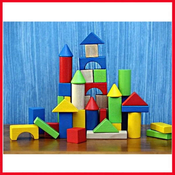 50 pc Classic Wooden Building Blocks Set
