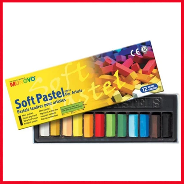 MUNGYO Soft Pastels for Artist 12 Pieces Color Set MPS – 12 – Multi Colors
