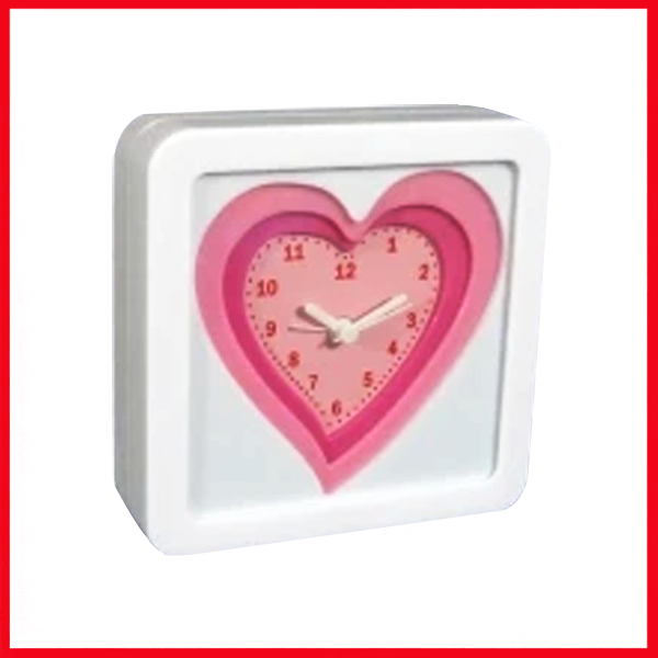 Time for love, White Frame Analog Table Alarm Clock