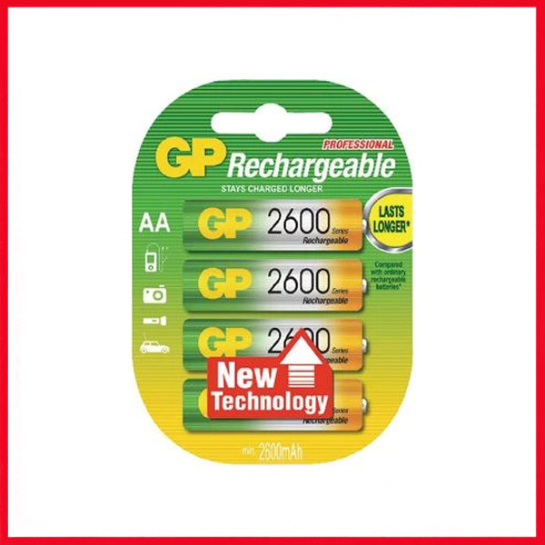 GP 2600 MAH AA Rechargeable Batteries (4 Cell)