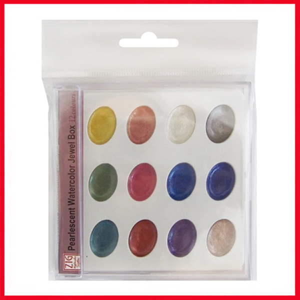 Zig Watercolor System Pearlscent Watercolor Jewel Box (12 Colors Set)