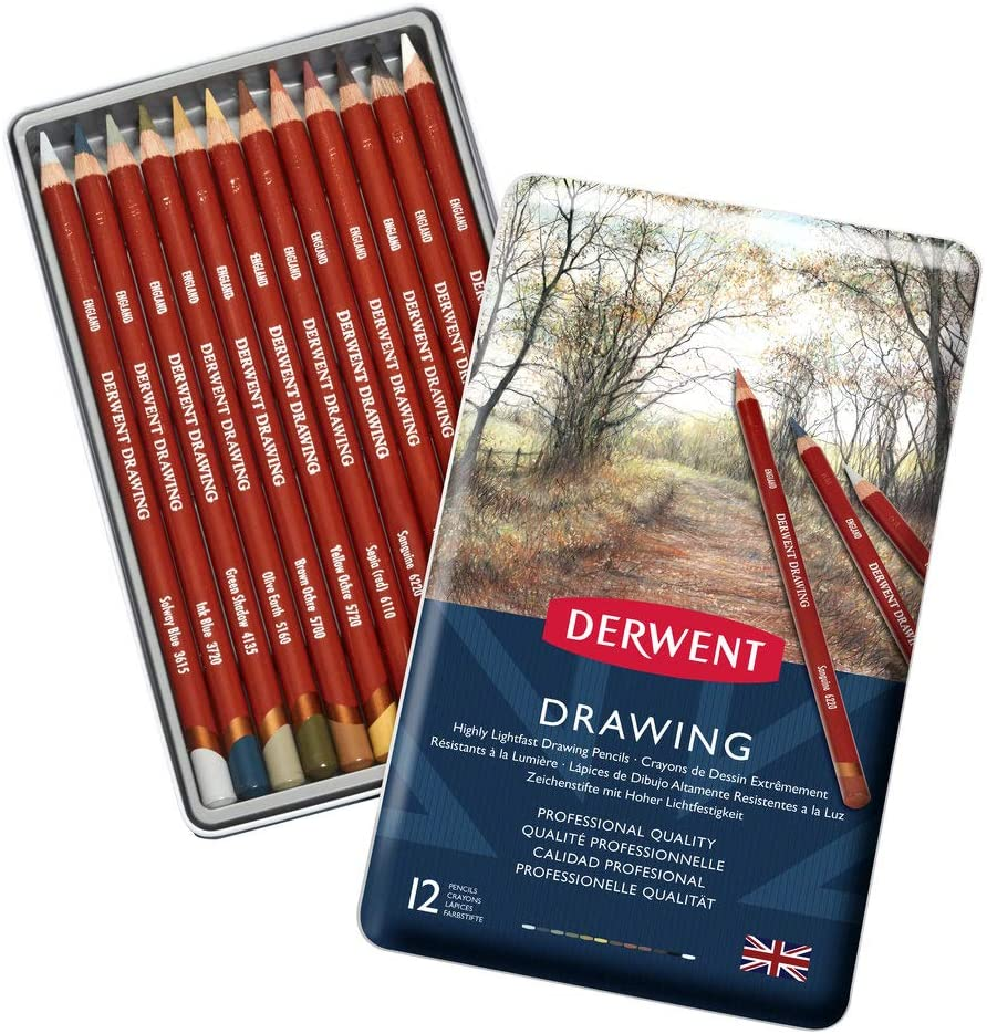 Derwent Drawing Color Pencil Tin Pack Of 12