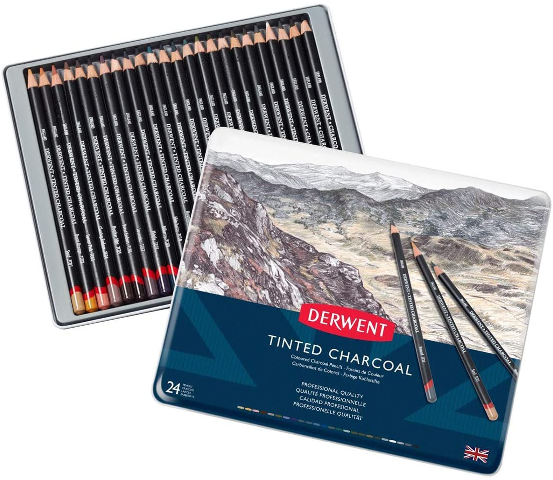 Derwent Tinted Charcoal Pencils Tin Pack Of 24
