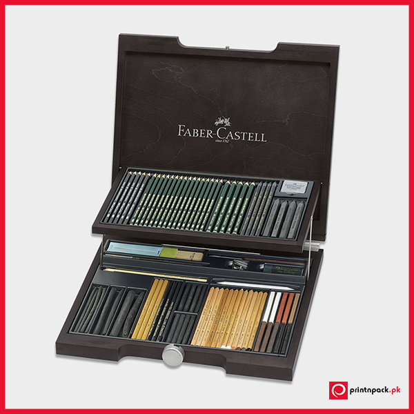 Faber Castell Pitt Monochrome Drawing Set In Wood Case