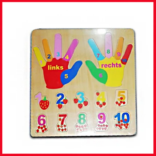 Wooden Learning Plate Finger Hand
