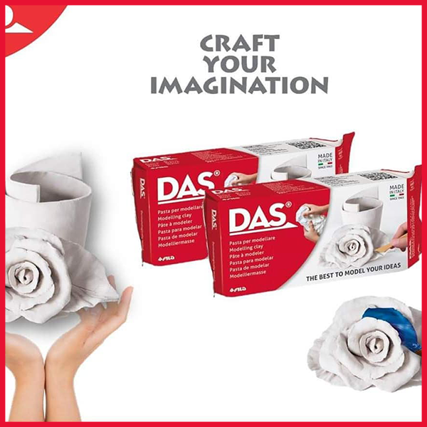 Das Air Dry Modelling Clay White & Terracotta Colors