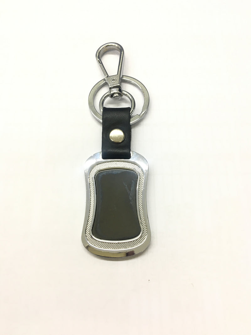 Silver Keychain  Round Black Glass And Black Leather.