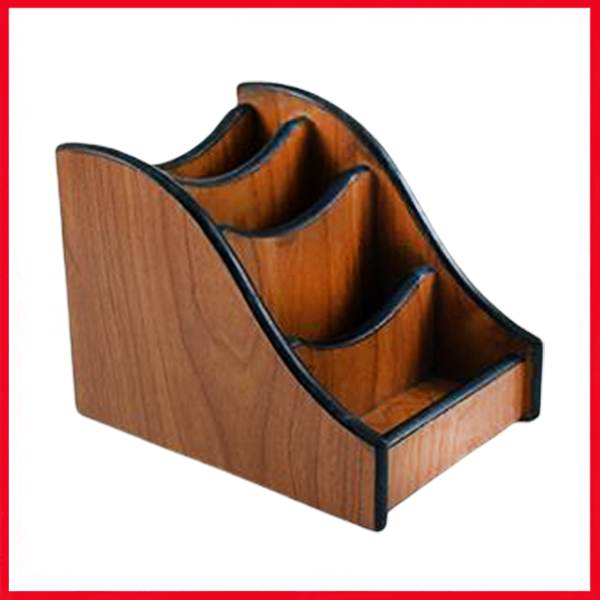 Wooden Pen Holder with Stairs Design.