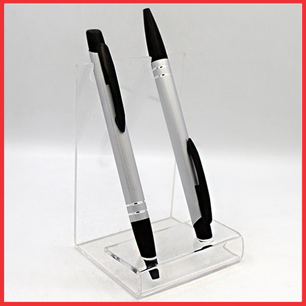 Silver And Black Plastic Pens.