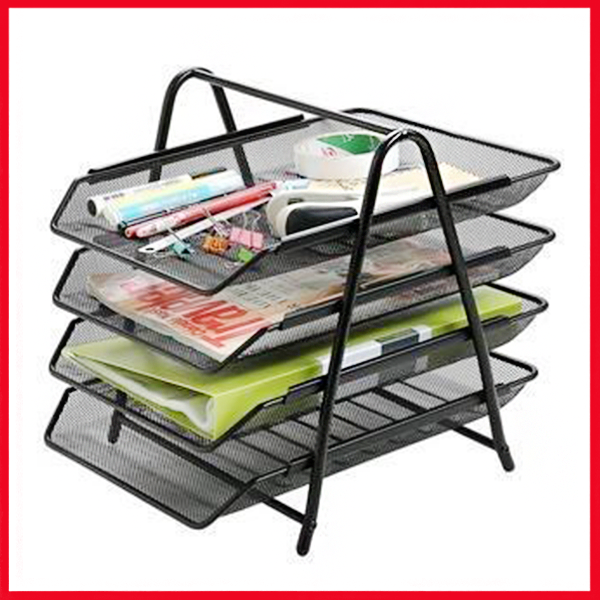 Letter Tray 4 Tier Black
