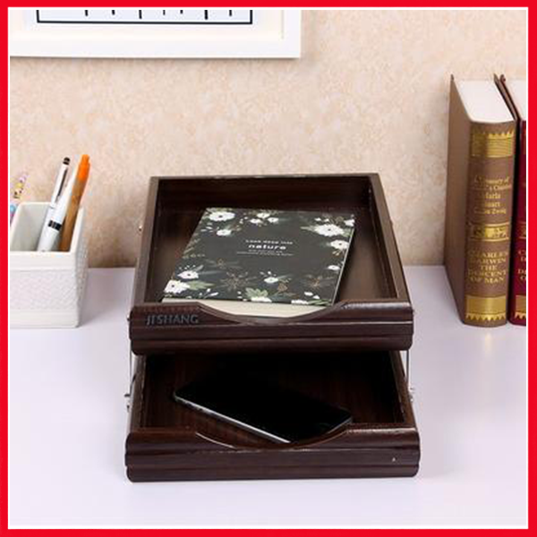2 Step Wooden Letter Tray & Paper Organizer Tray For Offices - 7722-1 - Printnpack.pk