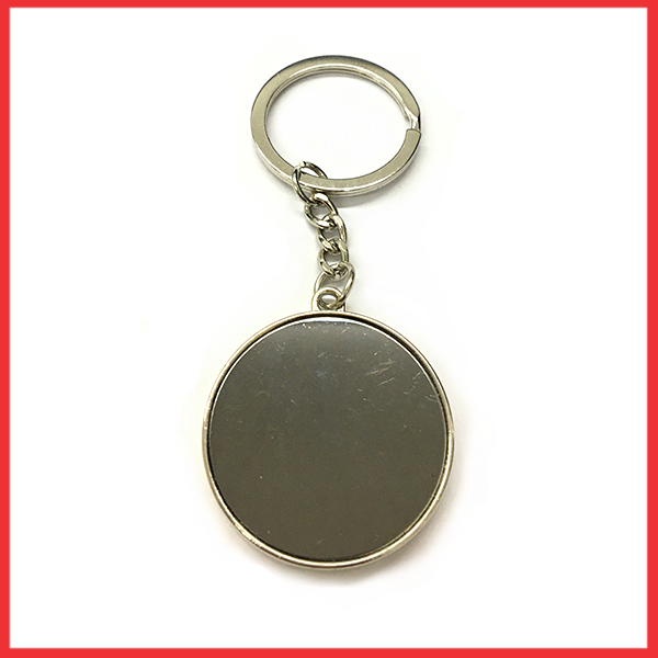 Silver And Metal Keychain Round Black Glass