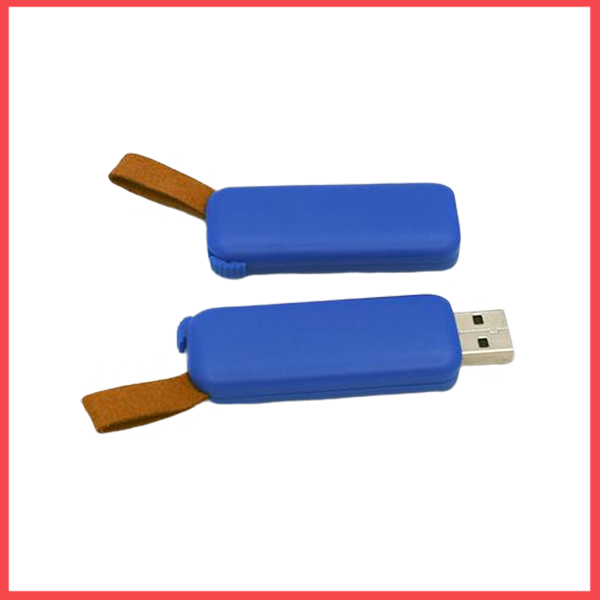 Plastic Body USB Flash Drive With Leather Strip (16,GB).