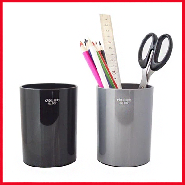Deli Pen Stand Round, Metallic ( Black and Grey), (E907)