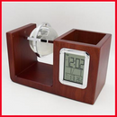 Executive Wooden Desk Organizer With Digital Clock, Pen Holder & Crystal Globe No-10062