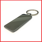 Silver And Metal Keychain With Rectangle Shape Glass